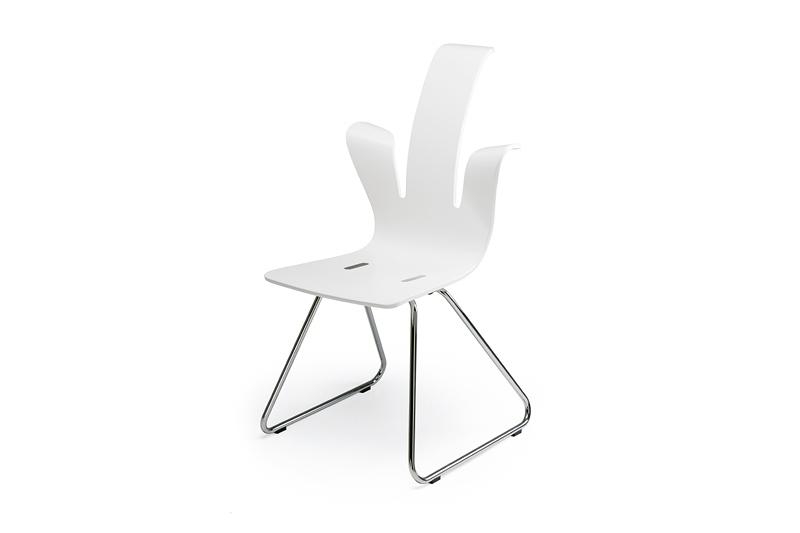 Penguin, Gestell matt verchromt, Sitzschale weiß