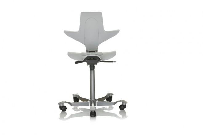 Capisco Puls 8010, Gestell silbern, Sitz und Rücken hellgrau, Kisseneinsatz Stoff hellgrau