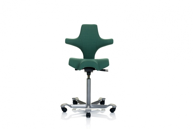Capisco 8106, Gestell silbern, Polster Stoff grün