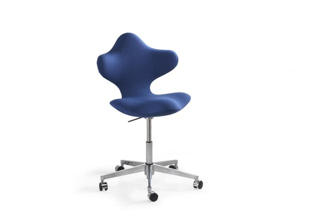 Active low, Gestell Aluminium poliert, Polster Stoff blau