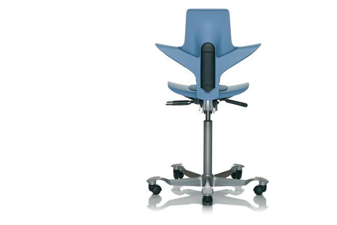 Capisco Puls 8010, Gestell silbern, Sitz und Rücken blau, Kisseneinsatz Stoff blau