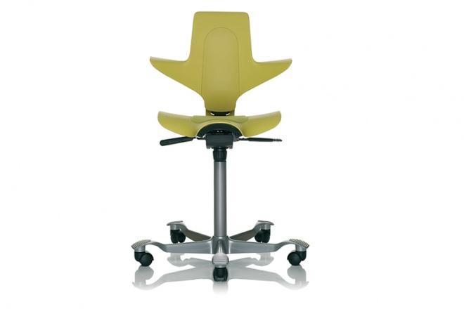 Capisco Puls 8010, Gestell silbern, Sitz und Rücken grüngelb, Kisseneinsatz Stoff grüngelb