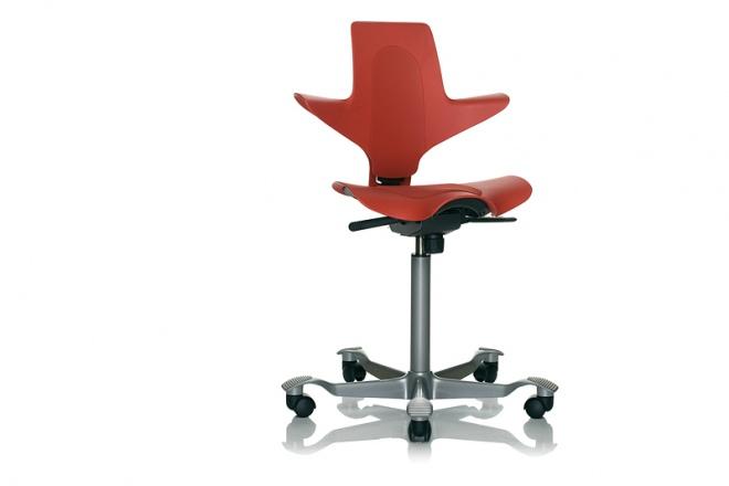 Capisco Puls 8010, Gestell silbern, Sitz und Rücken rot, Kisseneinsatz Stoff rot