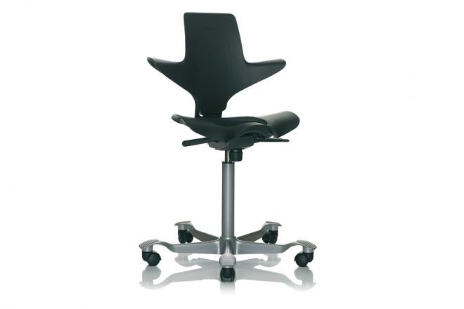 Capisco Puls 8010, Gestell silbern, Sitz und Rücken schwarz, Kisseneinsatz Stoff schwarz