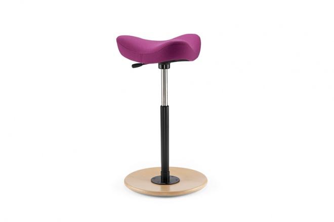 Move, Fußteller Esche natur, Polster Stoff pink