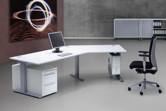 Spine² mit 45 Grad Winkelung, passendem Rollcontainer und Halter für das Rechnergehäuse