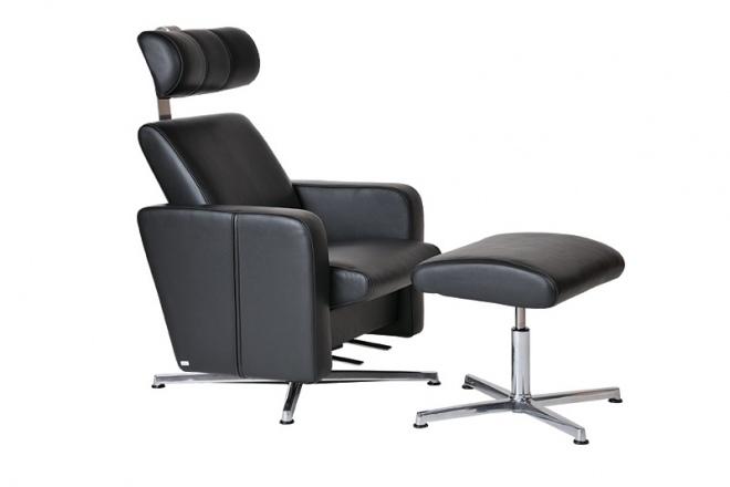 Relax Vital mit Fußhocker, 4-Fußgestell verchromt, Polster Leder schwarz