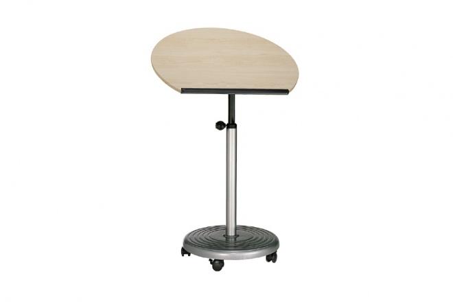 Stehpult Rolls Comfort Sitz-Steh, Gestell silbern, Pultpaltte Ahorndekor