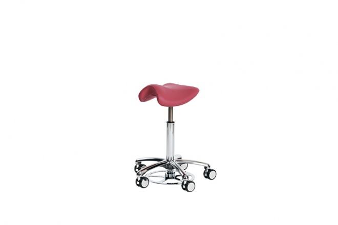 Swippo Lady, Höhenverstellung mit Fußauslösung, Gestell poliert, Polster Kunstleder rot