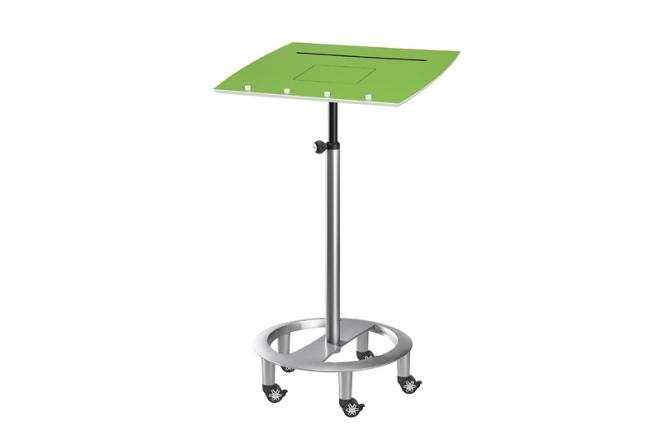 Stehpult Tablet Rolls, Gestell silbern, Pultplatte Schichtstoff grün